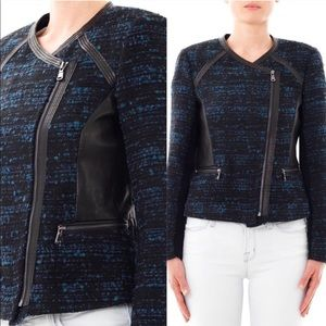 Rebecca Taylor leather trim boucle jacket in blue